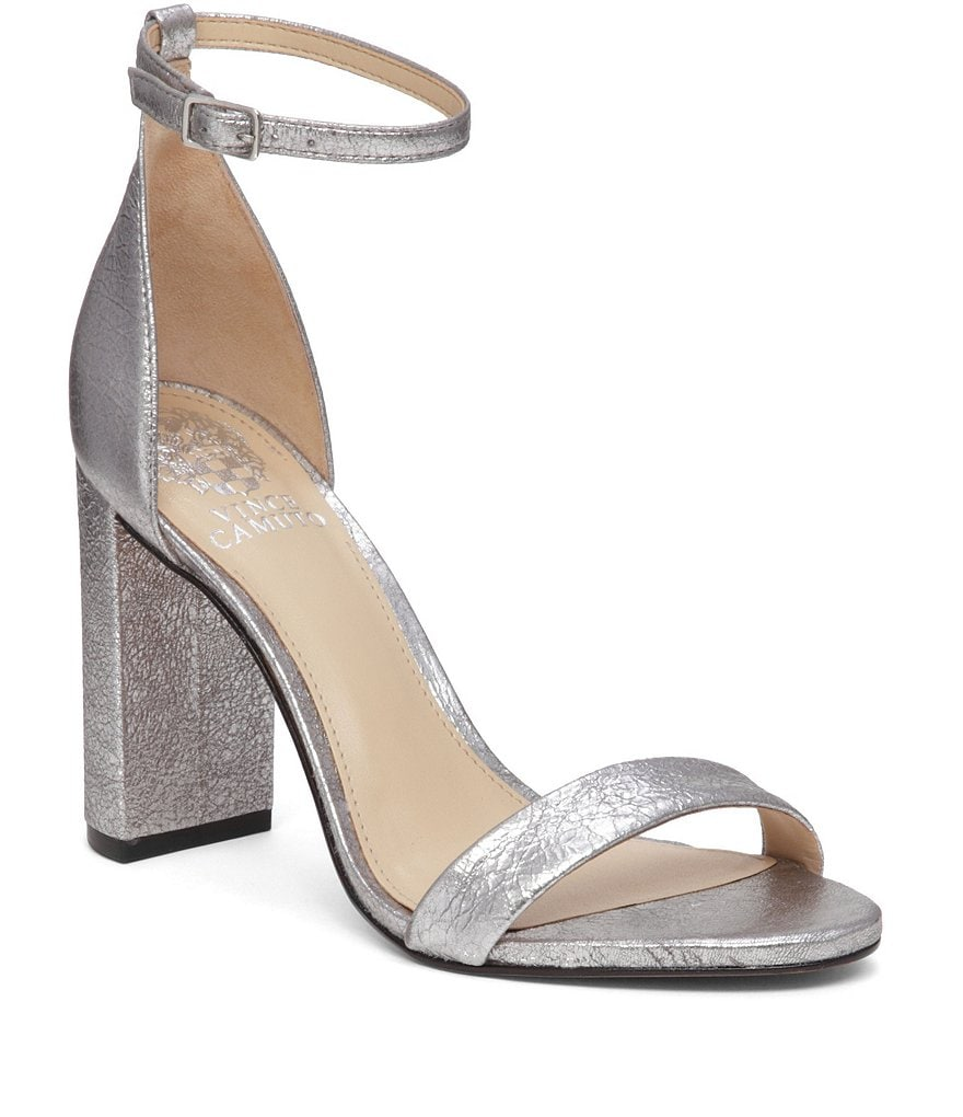 Vince Camuto Mairana Metallic Leather Banded Ankle Strap Block Heel Sandals