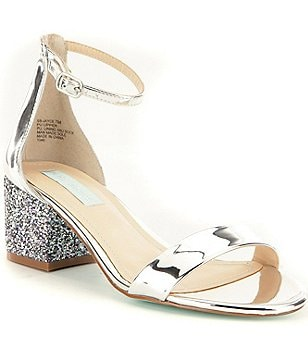 Blue by Betsey Johnson Jayce Metallic Ankle Strap Glitter Block Heel