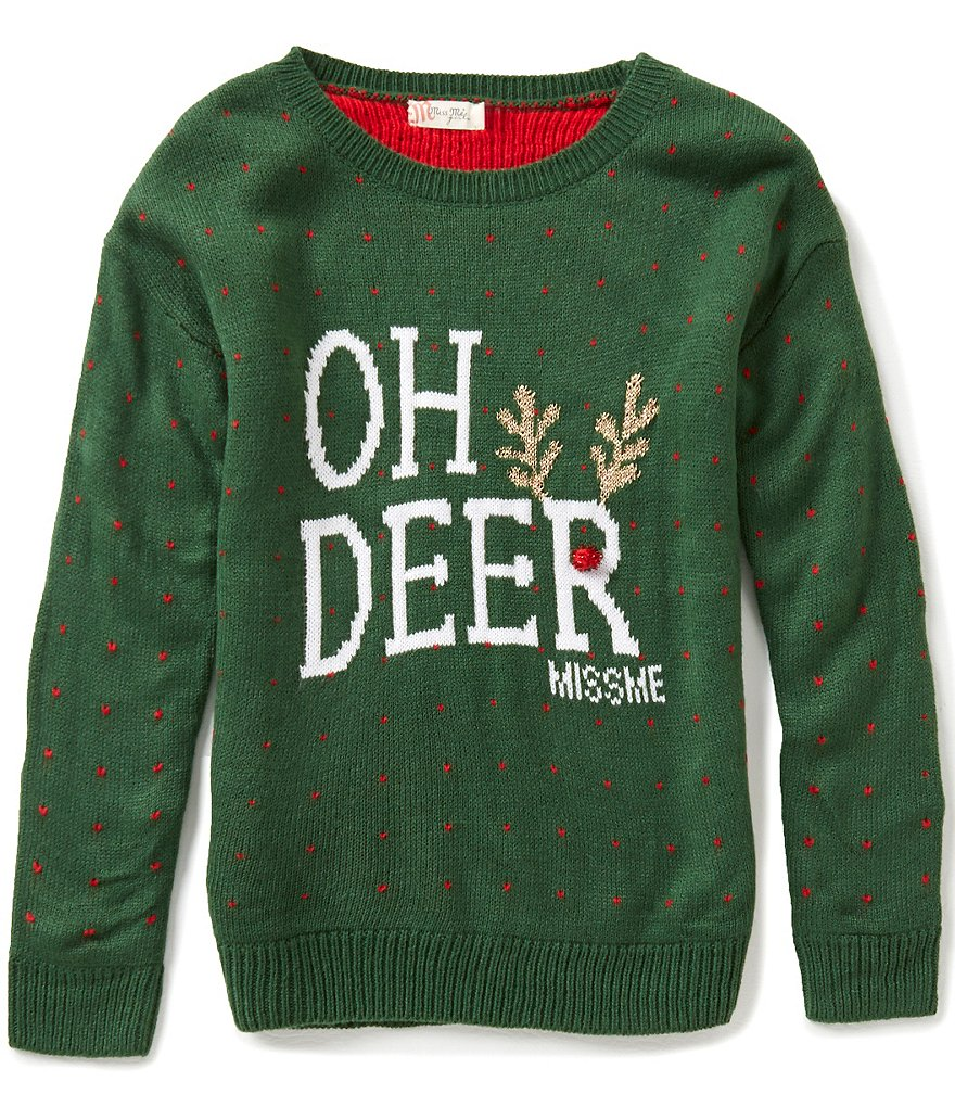 Miss Me Girls Big Girls 7-16 Christmas Oh Deer Sweater