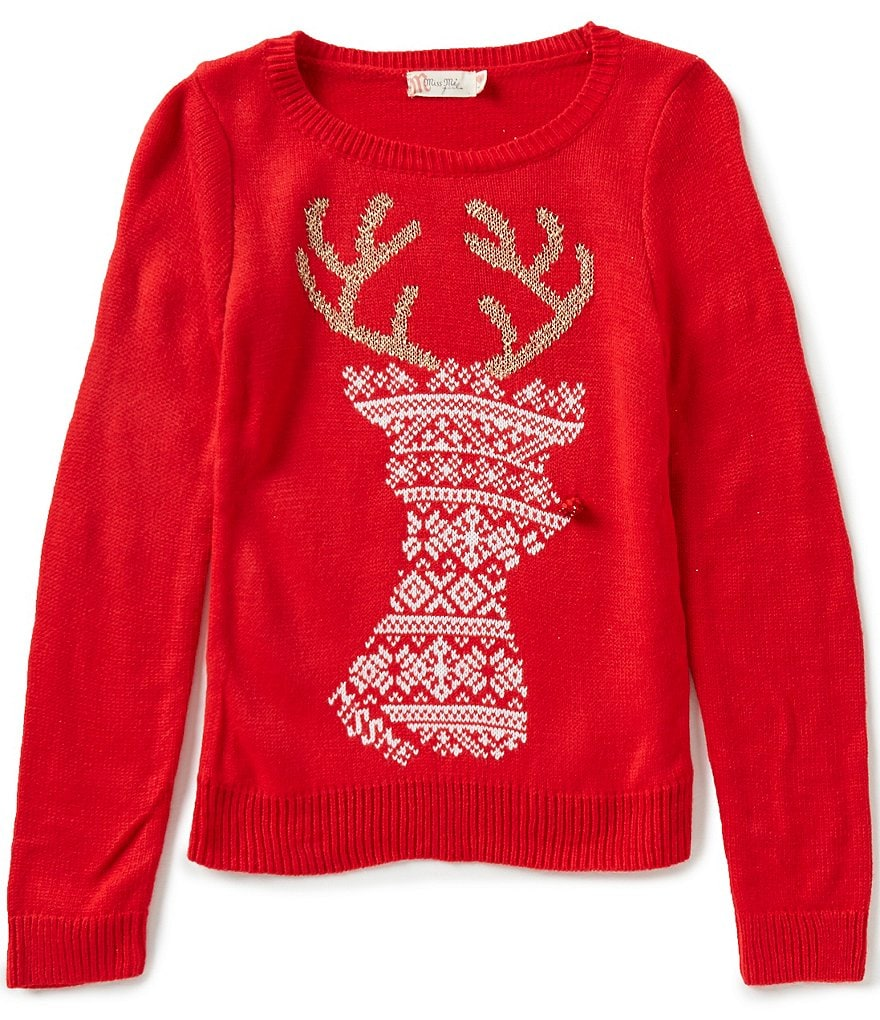 Miss Me Girls Big Girls 7-16 Christmas Reindeer Sweater