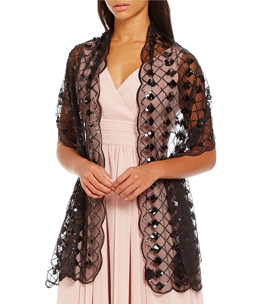 Cejon Crisscross Sequined Evening Wrap