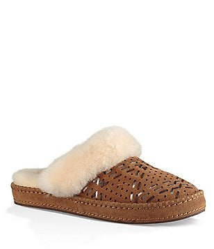 UGG® Aira Tehuano Perforated Fur Trimmed Slippers