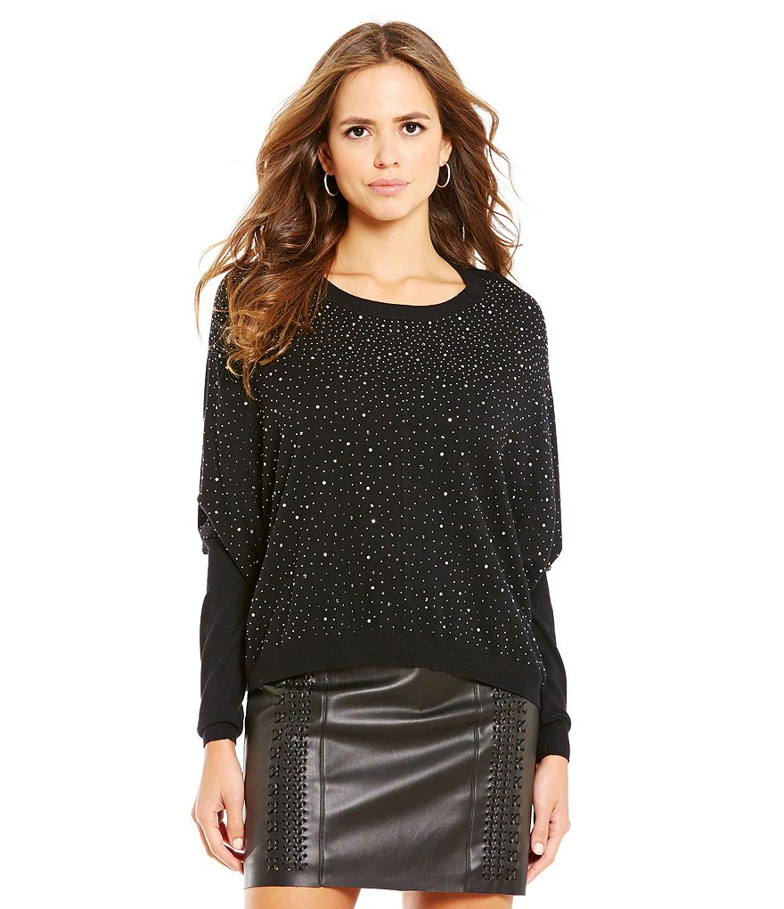Gianni Bini Tibby Studded Tunic Sweater
