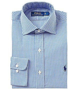 Polo Ralph Lauren Fitted Classic-Fit Spread-Collar Gingham Dress Shirt
