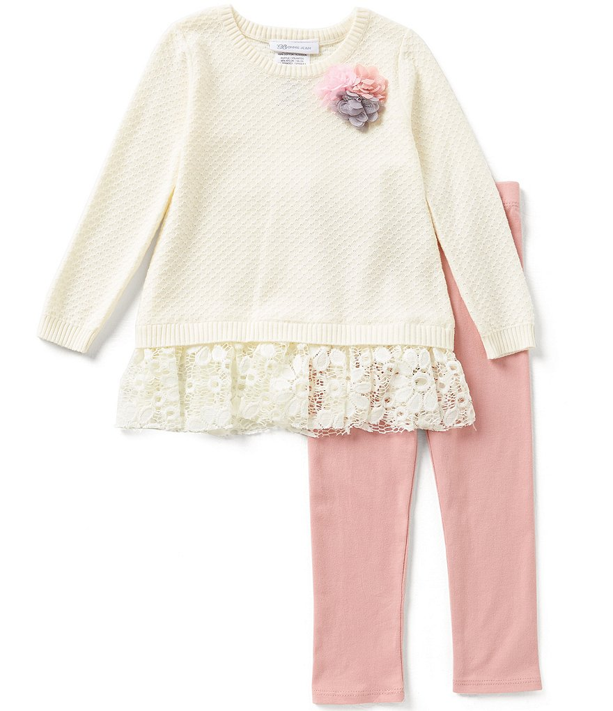 Bonnie Jean Little Girls 2T-4T Textured Lace Sweater Dress and Pants Set