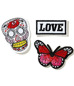 GB Girls Love Skull Iron-On Patches 3-Pack