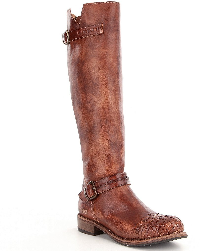 Bed Stu Blackburn Tall Woven-Toe Leather Buckle Detail Riding Boots