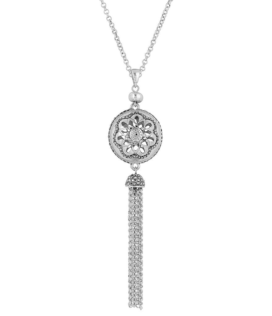 Lucky Brand Pavé Sphere Long Tassel Pendant Necklace