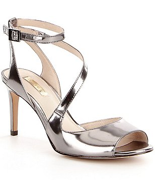 Louise Et Cie Kealy Metallic Leather Peep-Toe Dress Sandals