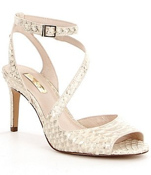 Louise Et Cie Kealy Python Embosses Peep-Toe Ankle Strap Dress Sandals