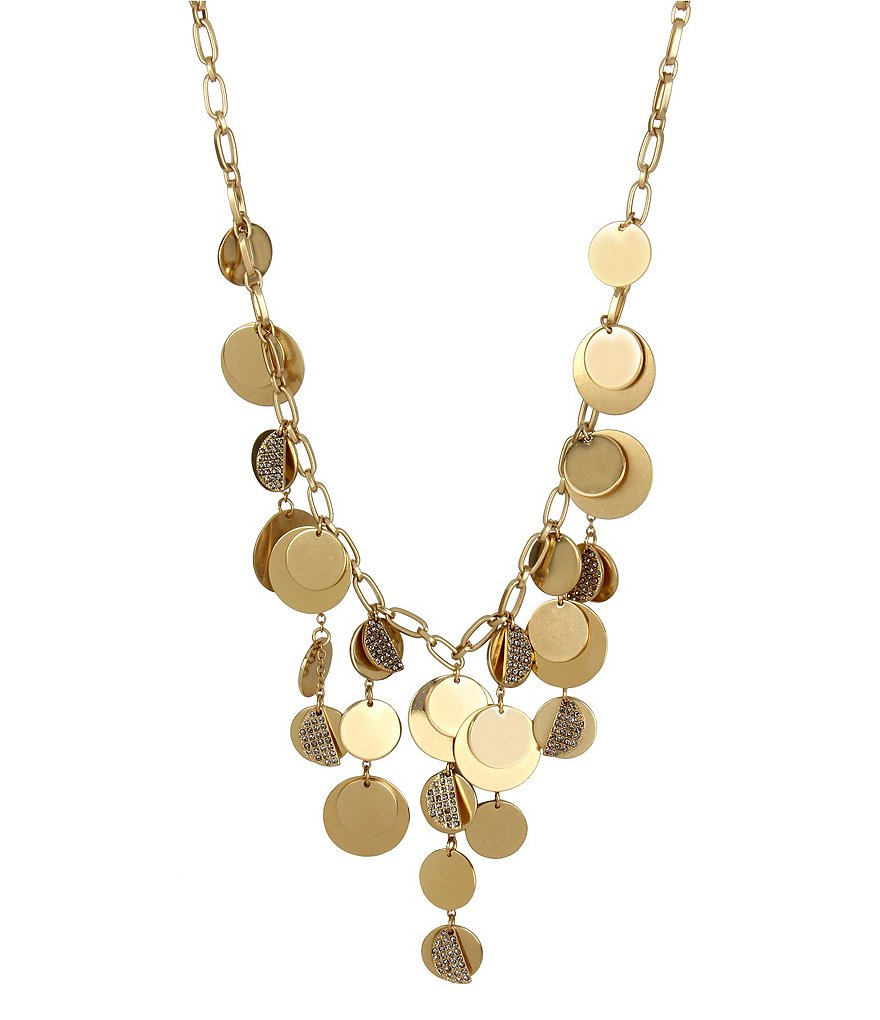 Kenneth Cole New York Pavé Disc Frontal Necklace