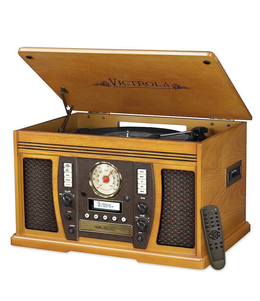 Innovative Technology Victrola Aviator 7-in-1 Oak Wood Record Player with Bluetooth