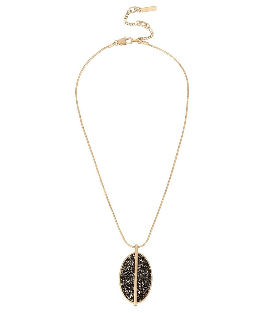 Kenneth Cole New York Sprinkle Stone Oval Pendant Necklace