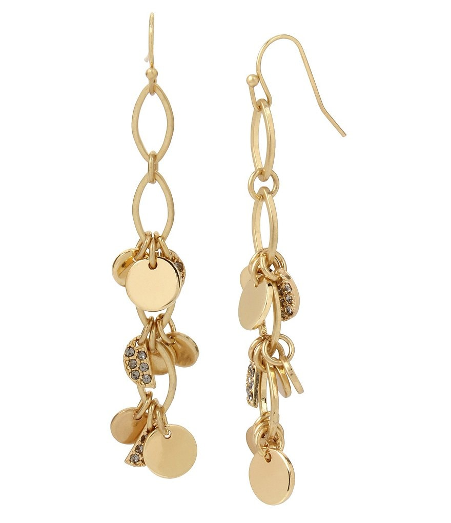 Kenneth Cole New York Shaky Pavé Disc Linear Earrings