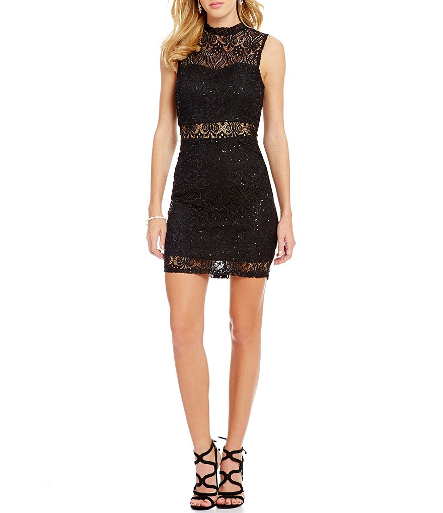 Xtraordinary Illusion Inset Sequin-Lace Mock Neck Sheath Dress