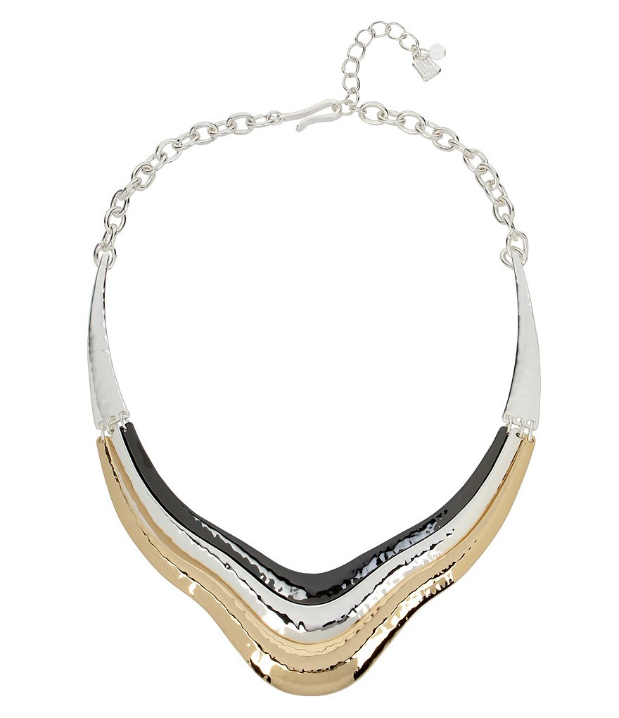 Robert Lee Morris Soho Hammered Sculptural Frontal Necklace