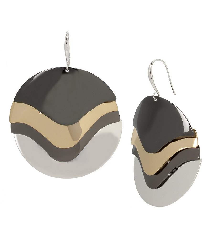 Robert Lee Morris Soho Tri-Tone Sculptural Circle Drop Earrings