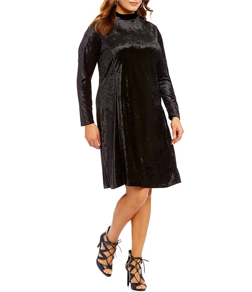Moa Moa Plus Turtleneck Keyhole Back Velvet Dress