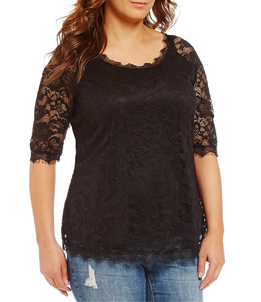 Moa Moa Plus Illusion 3/4-Sleeve Lace Tunic