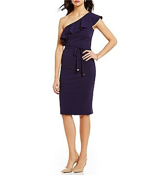 Jessica Simpson Ruffled One-Shoulder Sleeveless Self-Tie Belt Sheath Dress
