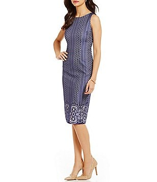 Jessica Simpson Round Neck Sleeveless Bonded Lace Midi Dress