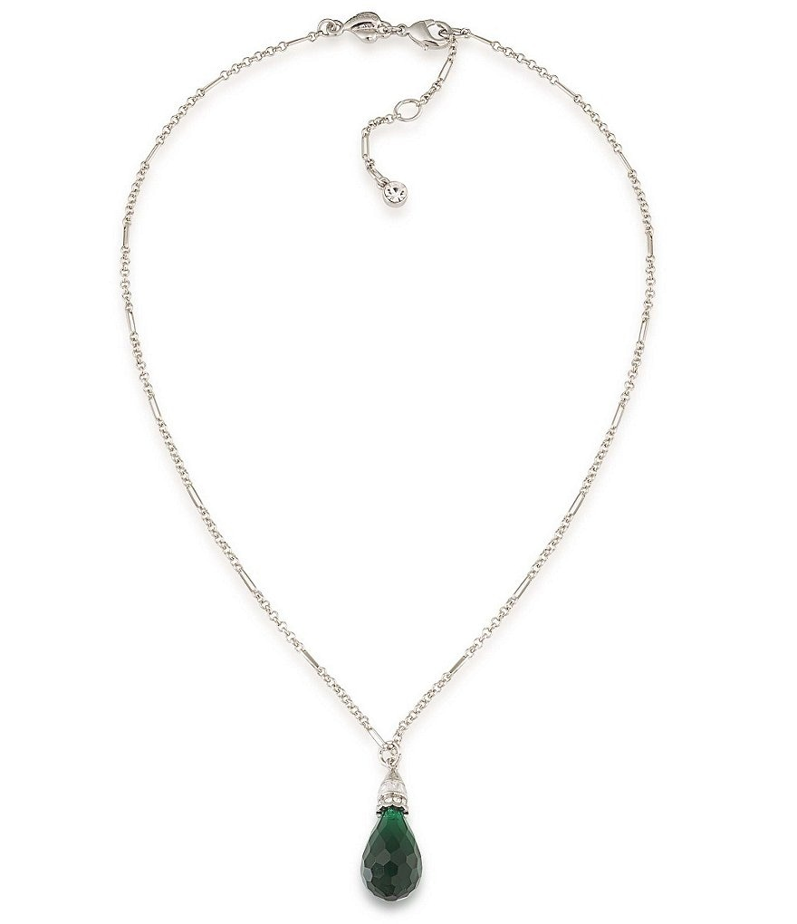 Carolee Wall Street Emerald Pendant Necklace