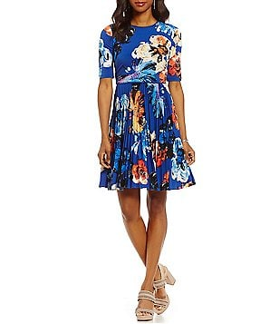 Maggy London Floral Print Pleated Skirt Elbow-Sleeve Matte Jersey Dress