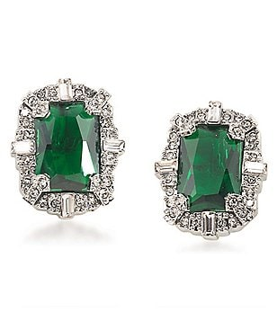 Carolee Wall Street Emerald Button Clip-On Earrings