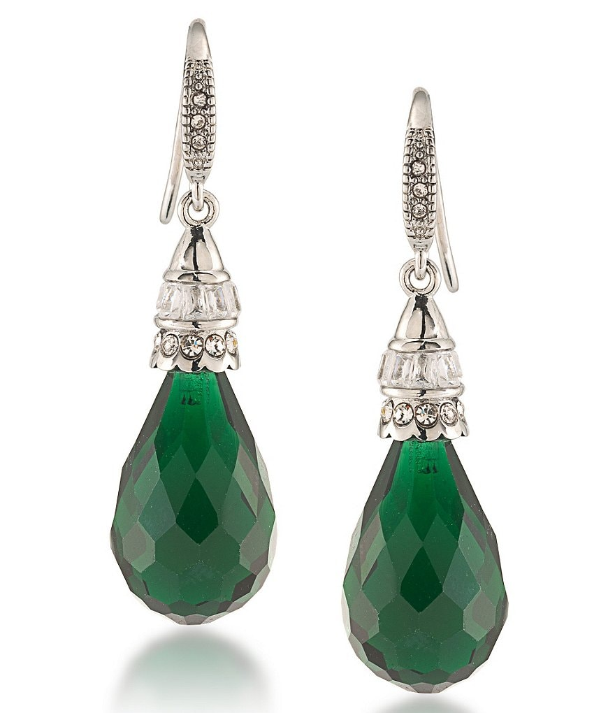 Carolee Wall Street Emerald Drop Earrings