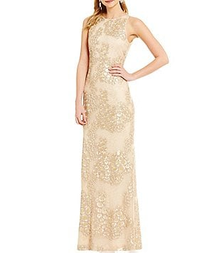 Belle Badgley Mischka Waverly Sequin Geometric Print Gown