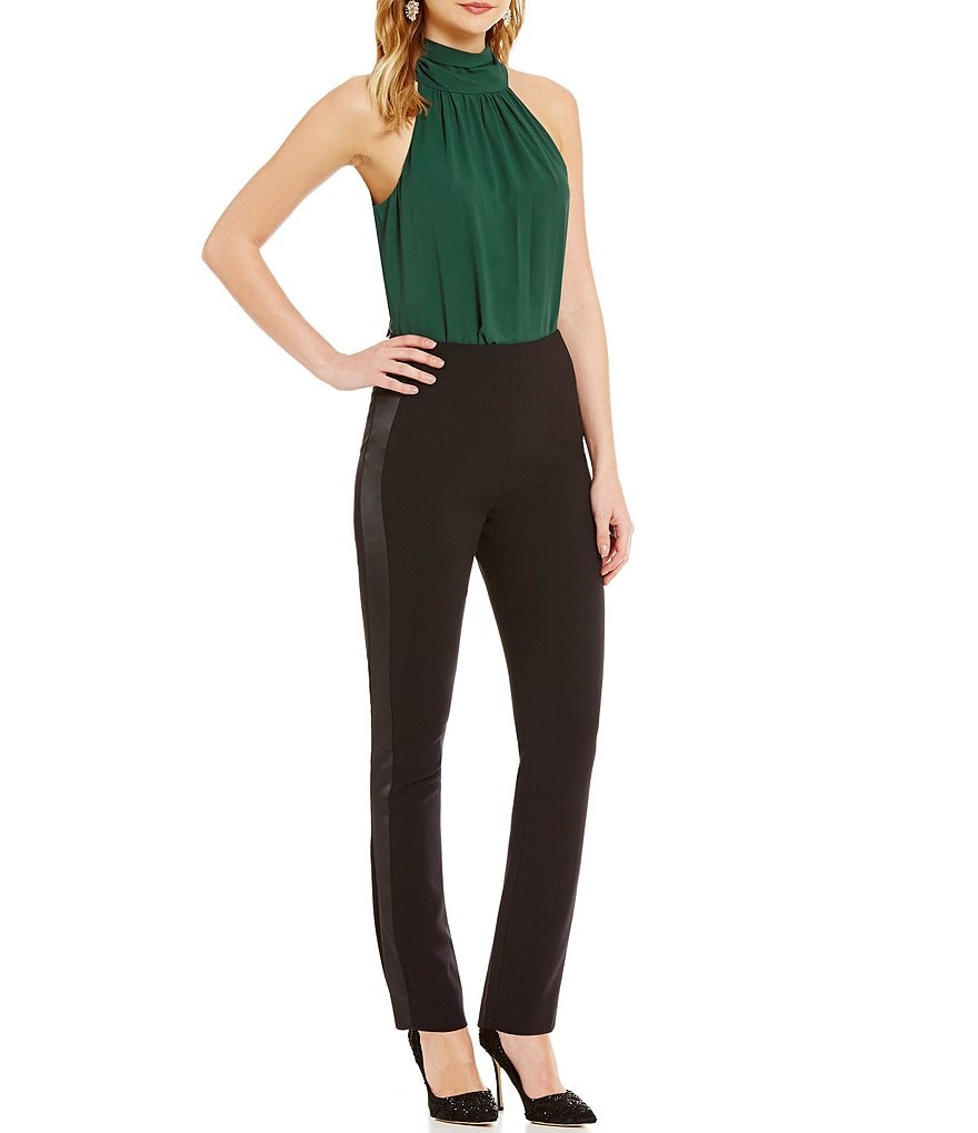 Belle Badgley Mischka Wisteria Neck Tie Bodysuit
