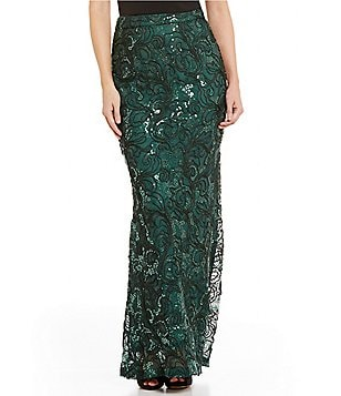 Belle Badgley Mischka Winetta Corded Sequin Maxi Skirt