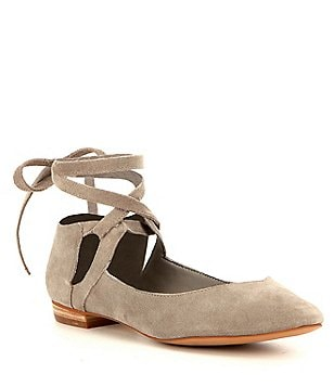 GB Break-Out Suede Ankle Lace Up Flats