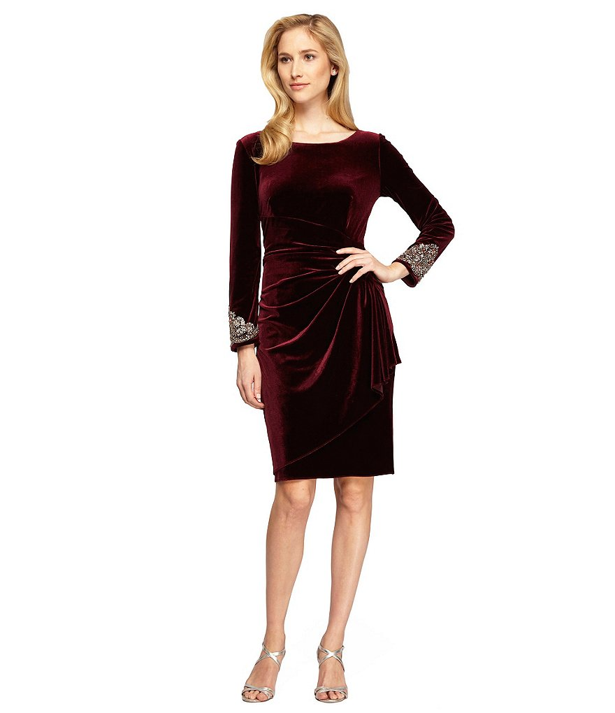 Alex Evening Petite Beaded Velvet Ruched Shift Dress