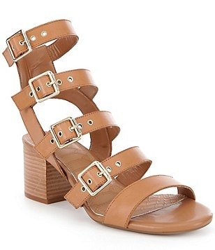 GB Side-Show Buckle Banded Leather Block Heel Sandal