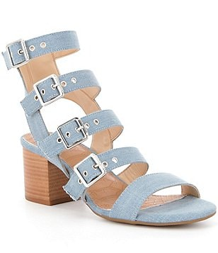 GB Side-Show Denim Buckle Banded Block Heel Sandal