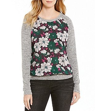 KUT from the Kloth Yalitza Floral Print & Marled Crew-Neck Top