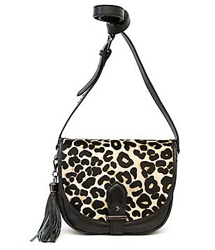 Joe´s Berkeley Tasseled Leopard-Print Haircalf Large Saddle Bag