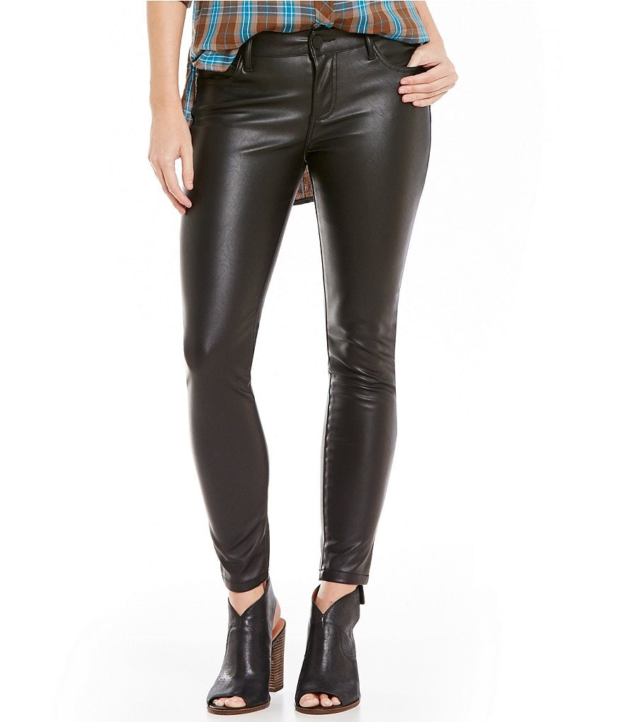 KUT from the Kloth Brigitte Faux-Leather Ankle Skinny Jeans