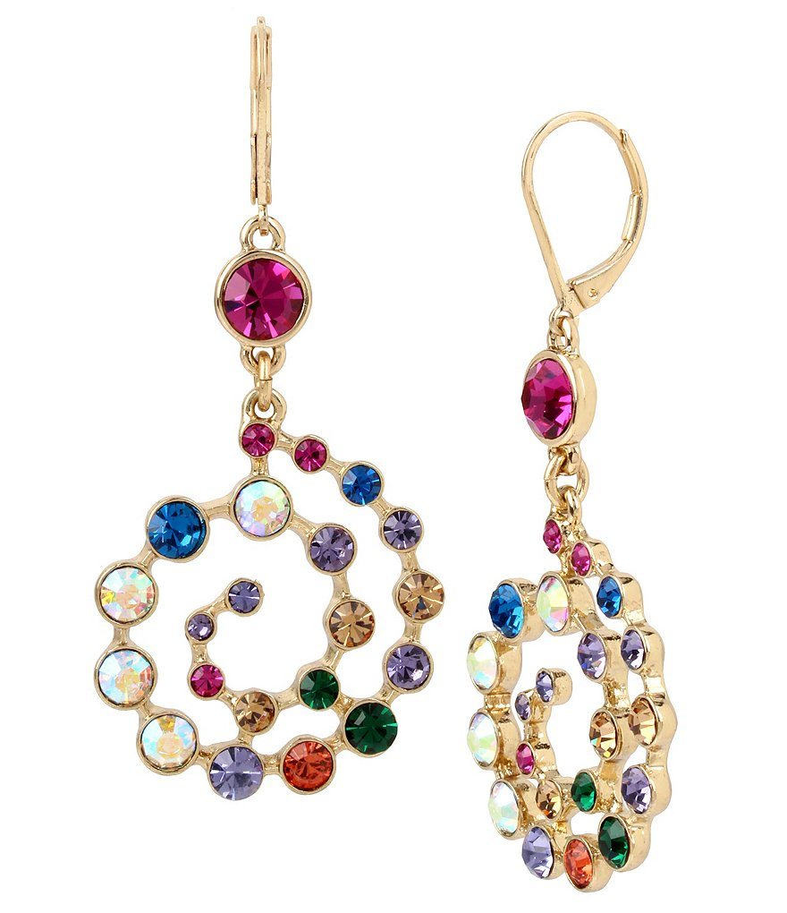 Betsey Johnson Mixed Stone Spiral Drop Statement Earrings