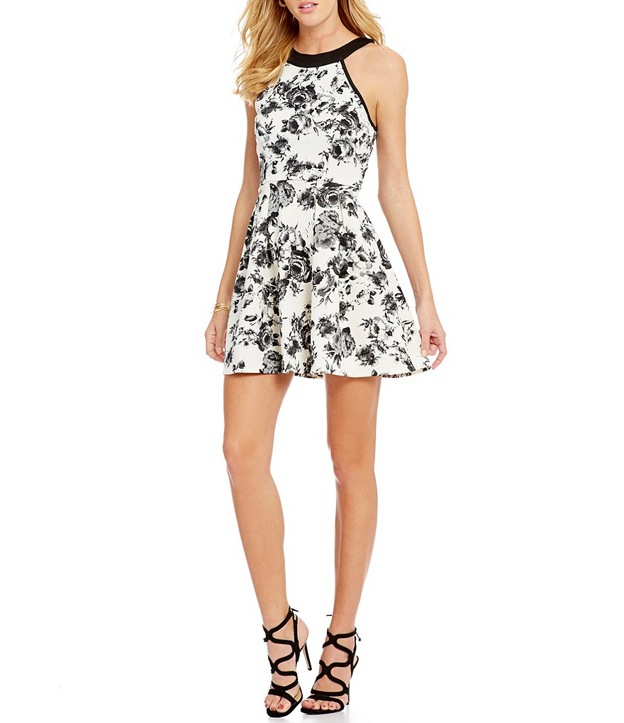 Midnight Doll Sleeveless Floral Flocked Skater Dress