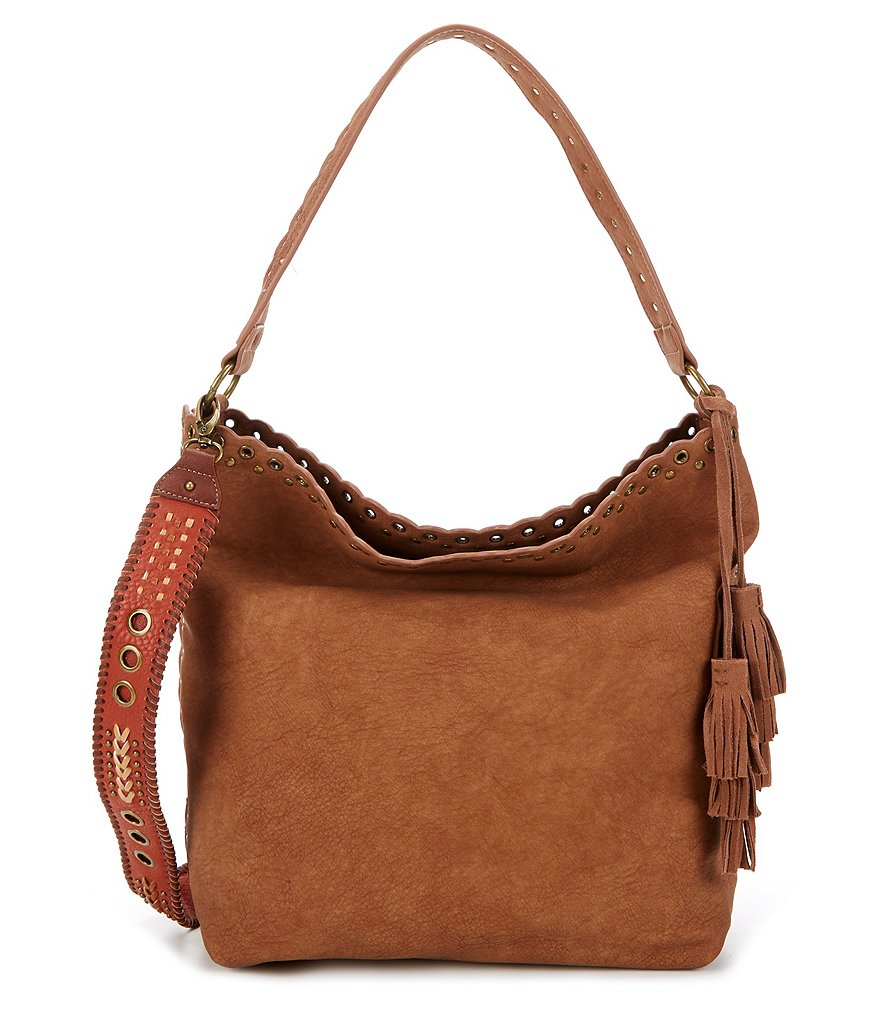 Steven by Steve Madden Madaxx Grommet Hobo Bag with Whip-Stitched Guitar Strap