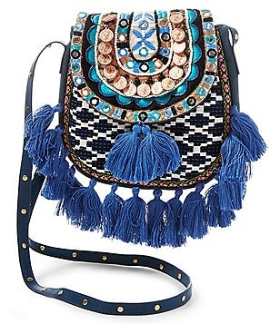 Steven by Steve Madden Tiva Beaded Tasseled Tapestry Saddle Bag