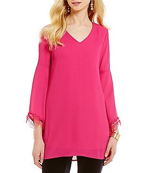 Chelsea & Theodore V-Neck Long Bell Sleeve Solid Tunic