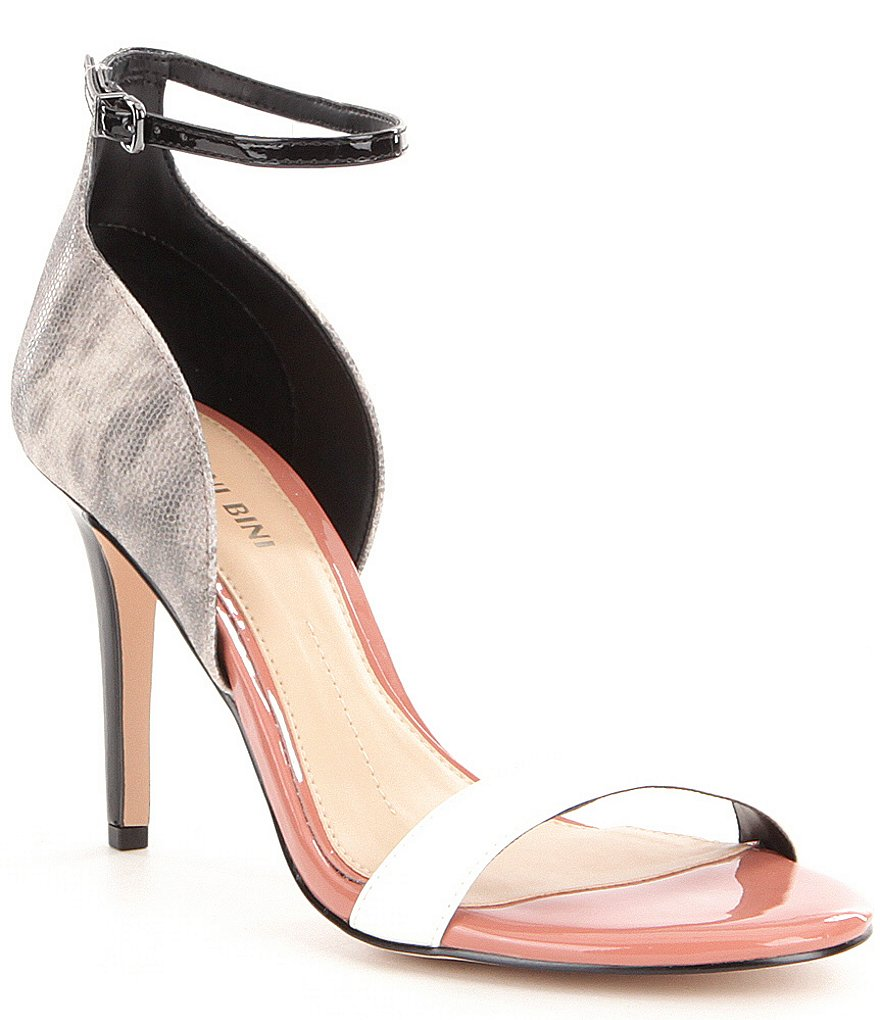 Gianni Bini Shaylah Lizard Print Patent Leather Ankle and Vamp Strap Dress Sandals