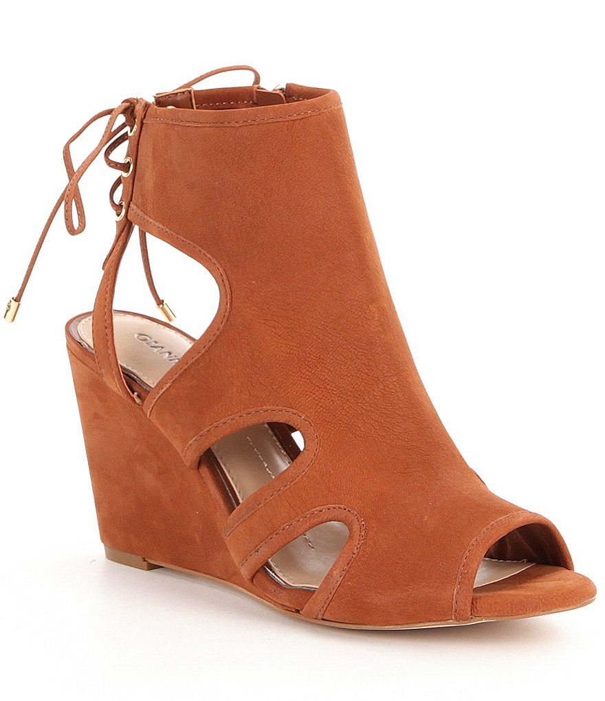 Gianni Bini Waltinn Cutout Slip-On Peep Toe Wedges