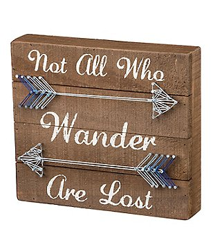 Primitives by Kathy Not All Who Wander Are Lost Arrow String Art Wood Box Sign