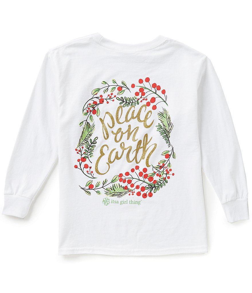 Itsa Girl Thing Big Girls 7-16 Christmas Peace on Earth Long-Sleeve Graphic Tee