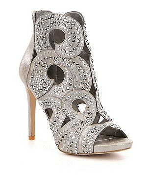 Gianni Bini Merilee Jeweled Swirl Cutout Peep Toe Stiletto Dress Sandals