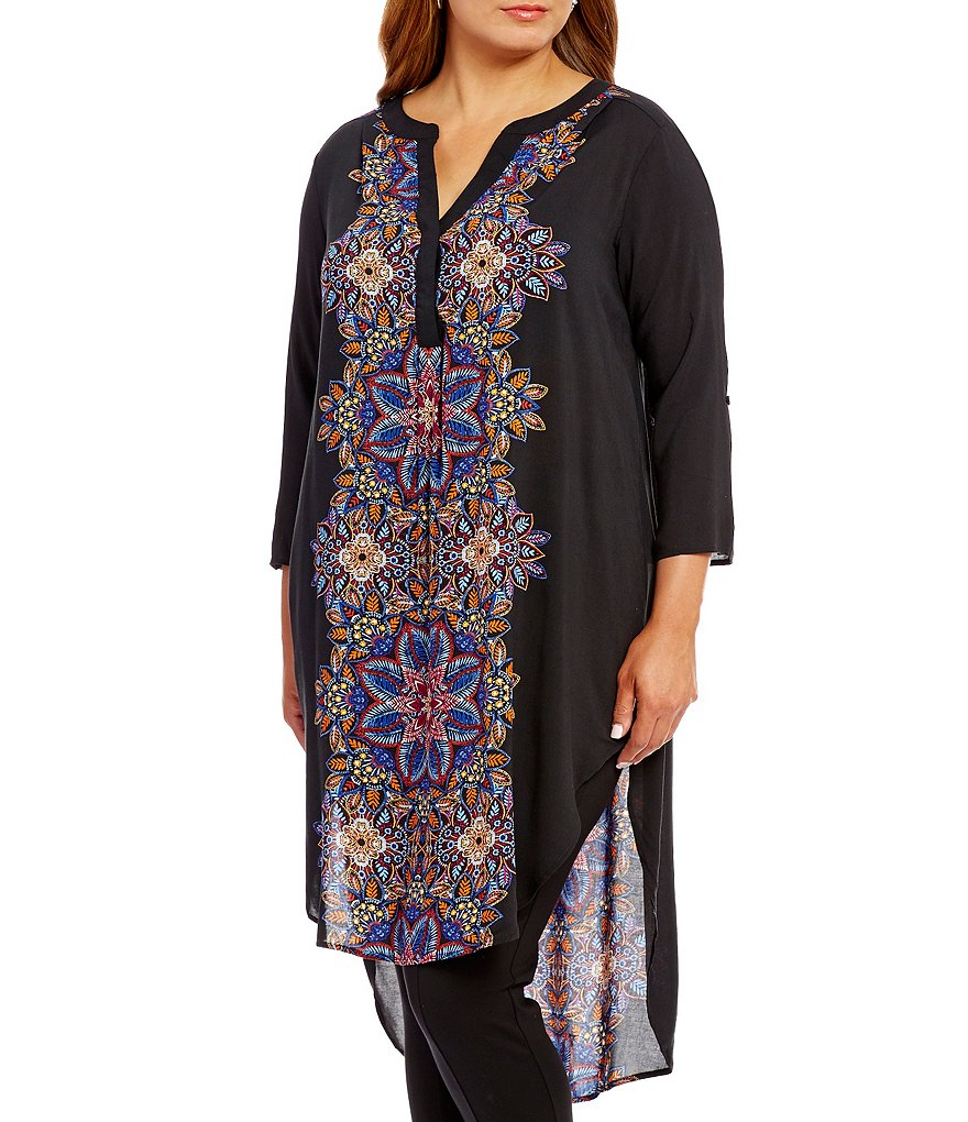 Cupio Plus Hi-Low Hem Split V-Neck Printed Tunic Dress